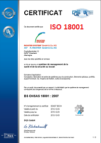 Iso 18001 : Certificat Iso 18001 RCIHTER SYSTEM